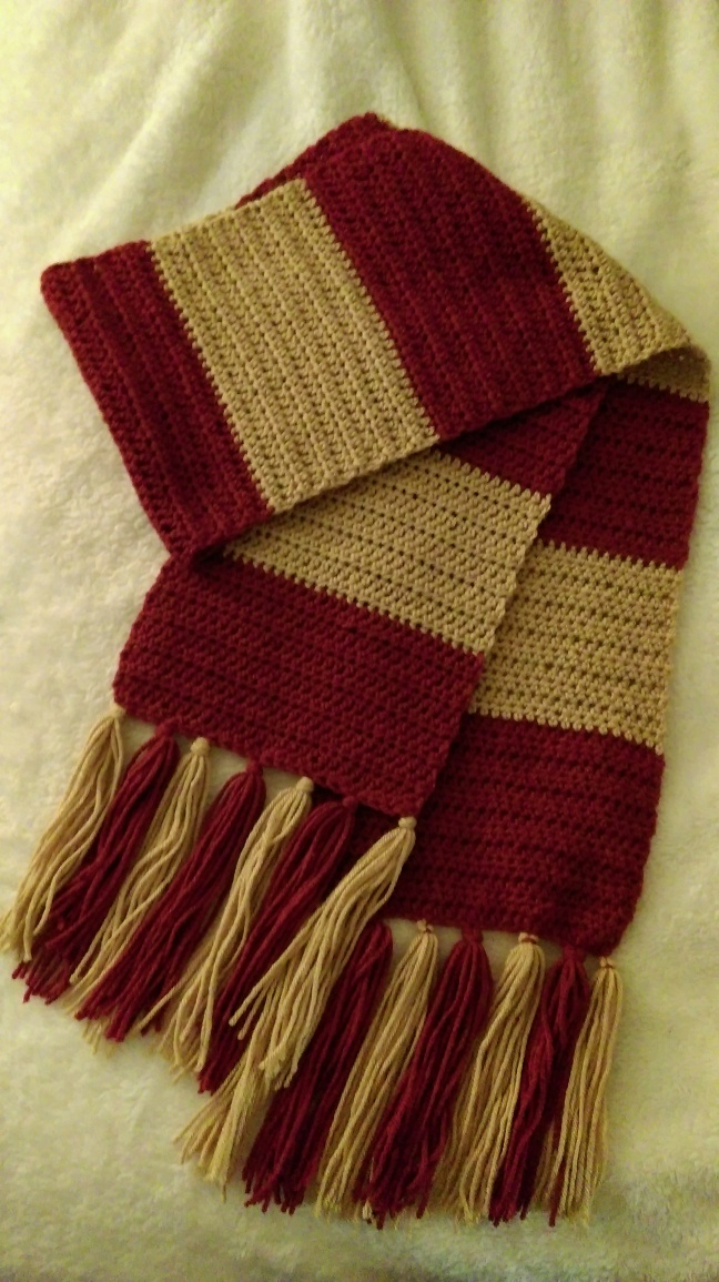 Harry Potter First Years Scarf Crochet Pattern Knotted Mom