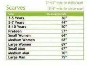 Standard Scarf Sizes