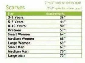 Image result for scarf sizes